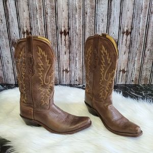 Old West Jama dark brown square toe cowboy boots